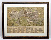Original Scare Framed Antique Engraved LONDON MAP 1767 Sayer Georgian City Guide Westminster Southwark New Buildings Hand Colored Art