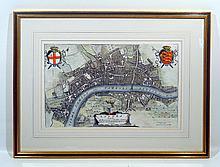 Original Scare Framed Antique Engraved LONDON MAP 1685 Restoration Period Coronelli Cornaro Venice Aristocratic Coat of Arms London Bridge Art