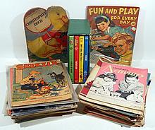 50V Walt Disney Studios VINTAGE & ANTIQUE CHILDREN'S BOOKS & MAGAZINES Coloring Books Linen Activities Color Illustrations Pigs Dogs Cats Drawing Geometry