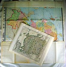 2Pcs ANTIQUE & MODERN MAPS OF CHINA 1801/1985 Color John Cary Engraved Imperial People's Republic Folding Communism