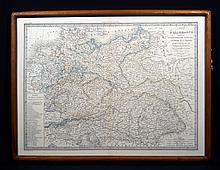 A E Lapie CARTE DE L'ALLEMAGNE 1842  Antique Cartography Frame Map Germany Prussia Austria European History