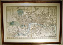 Original Scare Framed Antique Engraved LONDON MAP 1820 Monumental John Cary New Accurate Plan Georgian Era England Kensington Chelsea Art