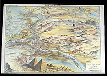 Pyramids Giza ANTIQUE CHROMOLITHOGRAPH BIRD'S EYE VIEW OF CAIRO 1882 Sphinx Ghizeh Egypt The Graphic Supplement Nile Ramses Exploration Routes Topography