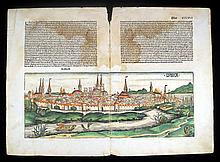 Hartmann Schedel TWO PAGES FROM NUREMBERG CHRONICLE 1493 Antique Hand-Colored Views German Text Laid Paper Lubeck Cracow Nissa