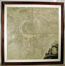 Original Scarce Framed Antique Engraved VIENNA MAP 1807 Degen Gerstner Grimm Large Four Panels Art