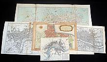 5Pcs Rare Original Antique Engraved LONDON MAPS 18th C Georgian Era Cole Maitland Rocque Noorthbouck Lancaster Westminster Forts Art
