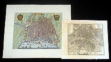 2Pcs Rare Original Antique Engraved AMSTERDAM PARIS MAPS 1625 1800 Plano Jaer Stockdale City Plan Hand Colored Points of Interest Cartography Art
