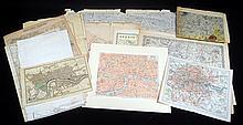 13Pcs Rare Original Antique Engraved LONDON MAPS 19th 20th C International Exhibition Charing Cross Ports Harbors Master Plan Basire Art