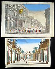 2Pcs Original Hand-Colored Copper Engravings VUE D'OPTIQUE PRINTS c1761 Egyptian Ruins Academie Royale Rome