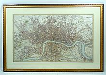 Original Scare Framed Antique Engraved LONDON MAP 1846 Davies Charles Knight Victorian Cartography Cornell University Architecture Provenance Art