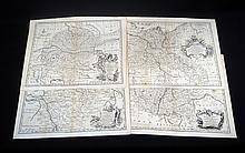 4Pcs Emanuel Bowen ANTIQUE ENGRAVED MAPS OF GERMANY c1795 Engravings Prints Bavaria English Topographical Detail Roads Rivers
