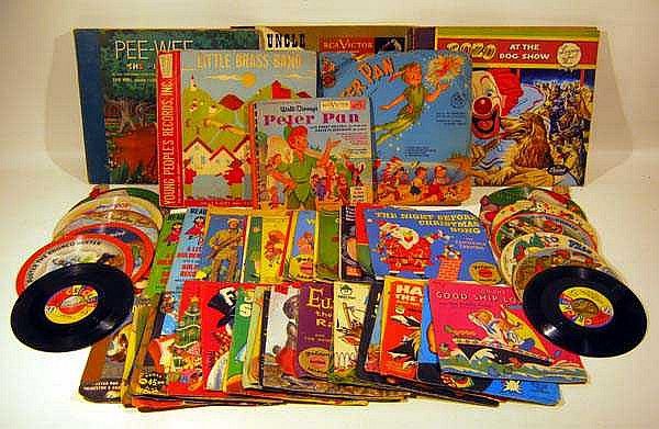 70 Pc. Vintage CHILDREN'S VINYL RECORDS 1940s-60s Novelty Picture Albums