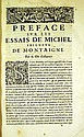 Michel De Montaigne LES ESSAIS DE MONTAIGNE 1652 Antique French Renaissance Literature Essays Humanist Philosophy Engraved Portrait Vignettes