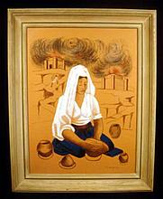 Francisco Dosamantes ORIGINAL FRAMED & SIGNED MIXED MEDIA  c1945 Lithograph Stencil & Drawing Vintage Mexican Art Pottery Making