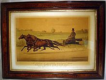 Framed Currier & Ives Color Folio Lithograph SMALL HOPES & LADY MAC 1875 Based On Edwin Forbes Painting Of Gentleman On Horse-Drawn Carriage