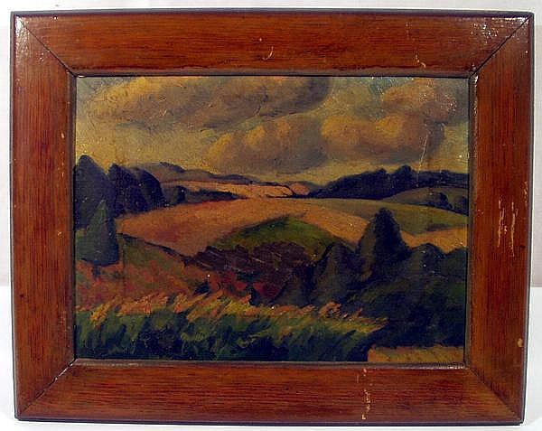 FRANK MORRIS OIL ON CANVAS 1920 Impressionistic Country Scenery Hills Trees Fields