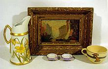 5 Pc. Antique Collectible LIMOGES, ROSEVILLE, & OIL PAINTING Porcelain Open Salts PL Tankard Pitcher Ewer T&V; Daffodils Staubbach Falls Switzerland Child's Dog Cup