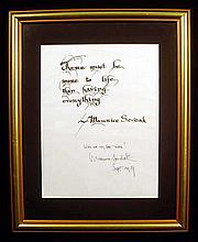 Original Collectible SIGNED MAURICE SENDAK Framed Inscribed Aphorism Quotation
