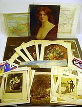 50 Pc. Antique & Vintage COLOR ILLUSTRATIONS & MAPS Arrowsmith Turkey Cyprus 1841 Chromolithographs Children Botanical Matisse Abstract Cut-Outs