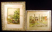 2 Pc. Vintage 1940s ORIGINAL WATERCOLOR PAINTINGS Framed Mildred Griffith Johnstown PA Logan Circle Ben Franklin Parkway Philadelphia Rural Farm Scene Wagon Barn