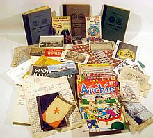 Vintage & Antique ASSORTED ESTATE EPHEMERA Travel Richard Nixon Christmas Seals Fraternal Odd Fellows Sports Illustrated 1957 Althea Gibson Popular Science 1934 Numismatic Folders 1930s Flying Saucers World's Fair