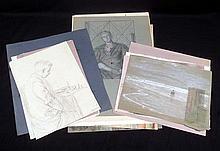 13Pcs Sketches Drawings Watercolors HUBERT ARTHUR FINNEY 1925 1940 Vintage Original Artwork Portraits Landscapes British Rothenstein Paris Salon