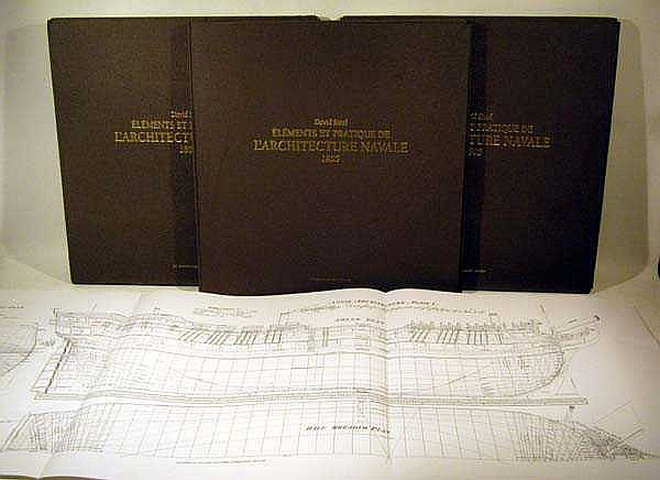 4V David Steel ELEMENTS ET PRATIQUE DE L'ARCHITECTURE NAVALE 1805 2001 Facsimile Folio Full-Sized Reproductions On Folded Plates
