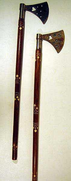 2 Pc. Ottoman TURKISH CEREMONIAL BATTLE AXES Weapons Turkey