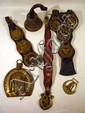 Antique HORSE BRASSES & TACK Straps Sallong 19th Century Cast Brass Bell