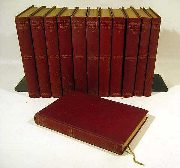 12V THE WRITINGS OF JAMES RUSSELL LOWELL IN TEN VOLUMES 1893-1895 American Romantic Poet & Critic Fireside Poets New England