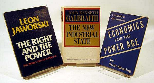 3V Galbraith Industrial State AUTHOR-SIGNED ESTATE BOOKS Jaworski Right & Power Watergate Nearing Economics Power Age 20th-Century US