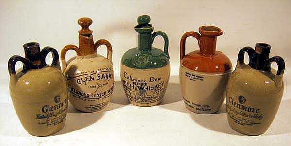 5 Pc. Vintage POTTERY WHISKEY JUGS Ceramic Crockey Bourbon Scotch Irish