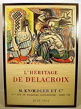 Pablo Picasso L'HERITAGE DE DELACROIX 1964 Framed Vintage Art Poster Lithographic Technique Knoedler Exhibition