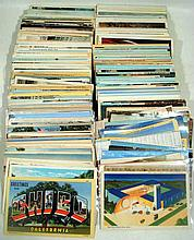 375 Pc. Antique & Vintage POSTCARDS White Border Linen 1905-1950 U.S. Cities Towns Technology World's Fairs Novelty Birthday Holiday Factory