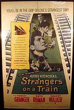 Vintage 1951 Movie Poster STRANGERS ON A TRAIN Alfred Hitchcock Film Farley Granger Robert Walker Patricia Highsmith Hollywood Psychological Thriller