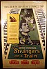 Vintage 1951 Movie Poster STRANGERS ON A TRAIN Alfred Hitchcock Film Farley Granger Robert Walker Patricia Highsmith Hollywood Psychological Thriller