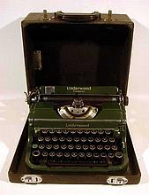 Vintage 1938 UNDERWOOD PORTABLE TYPEWRITER Champion Manual with Case Dark Green Color