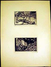 Original Art PALLE NIELSEN LINOCUT The Soldier and the Child Series #19 and #20 Anti-Fascist Danish Expressionist Printmaker Artist