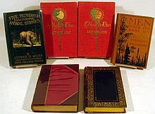 6V Antique DECORATIVE LITERATURE Leather-Bound A Tale of a Tub Jonathan Swift Thackerayana Gold Stamped Animal Stories The Fair God Lew Wallace Men With The Bark On Frederic Remington