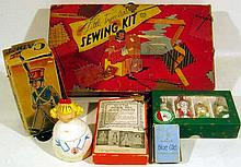 7 Pc. Antique & Vintage COLLECTIBLE ESTATE TOYS Mechnical Wind-Up Marching Soldier Cadet Box Little Traveler's Sewing Kit Composite Doll Earl Bernard China Doll Box Kurt Adler Glass Christmas Tree Ornaments