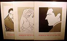 3 Pc. William Auerbach-Levy ORIGINAL THEATRICAL POSTERS 1977 Greta Garbo John Barrymore Victor Borge Museum Of The City Of New York Theatre Collection Vintage Drawing Art Caricature Actors Entertainers Graphic Design