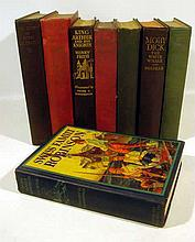 8V Antique ILLUSTRATED CHILDREN'S BOOKS Classics Robin Hood King Arthur Treasure Island Kidnapped Swiss Family Robinson Moby-Dick Don Quixote Arabian Nights