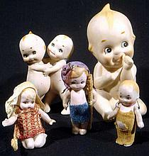 5 Pc. Antique BISQUE PORCELAIN KEWPIE DOLLS Jointed Arms Hugging Twins Lefton Sitting Figurine KW228