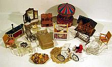 32 Pc. Antique & Vintage DOLLHOUSE FURNITURE Collectible Toys Music Box Carousel Porcelain Doll's Tea Set