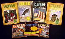 7V Vintage 1940s PULP SCIENCE FICTION MAGAZINES Astounding Stories Robert Heinlein L. Ron Hubbard L. Sprague de Camp Theodore Sturgeon
