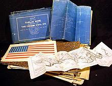 Antique & Vintage COLLECTIBLE EPHEMERA Victorian Atlas Lithographs Illustrations Large Marbled Folio Endpapers Taplin Coal Mine Blueprints Belmont Ohio