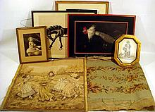 7 Pc. Antique & Vintage FRAMED ART & DECORATIVE TEXTILES Needlepoint Tapestry Etching Portrait of a Woman Rooster Silkscreen Print Chinese Ink Brush Horse Painting Baby Hand-Colored Photo 19th C. Engraving