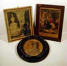 3 Pc. Original ANTIQUE LITHOGRAPHS Frames Mourning Memorial Currier & Ives Victory Doubtful Man's Portrait Oval