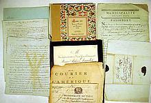 7 Pc. Antique 18th C. FRENCH DOCUMENTS Vellum Manuscript Louis XV Port au Prince Haiti Passport 1788 Paris Police Department Courier de L'Amerique Newspaper Alphonse Daudet Burial Invitation