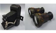 19th century leather binoculars AND Antique SLR Camera
